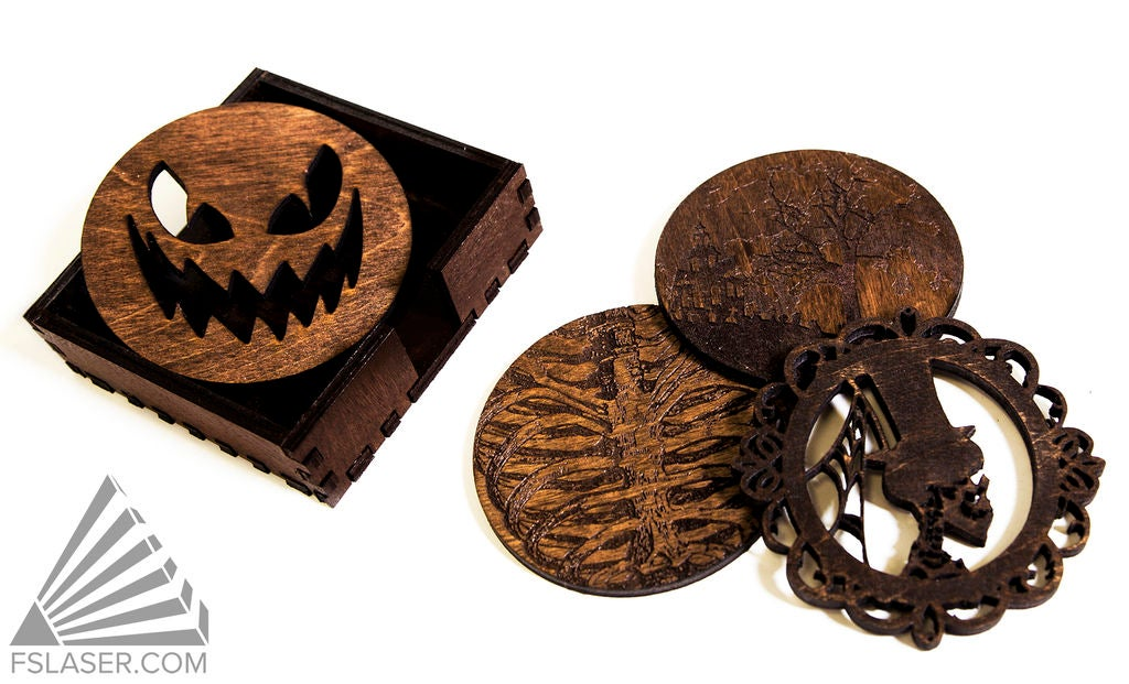 Laser Cut Halloween Coasters SVG File