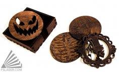 Laser Cut Halloween Coasters SVG File