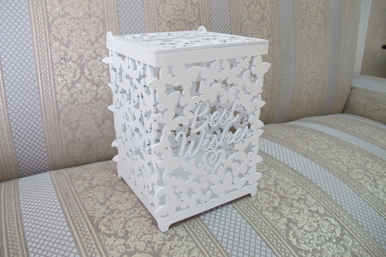 Laser Cut Wooden Wedding Card Box Gift Card Box With Lid Free Vector
