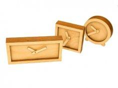 Laser Cut Wood Desk Clock Wooden Clock For Him Free Vector