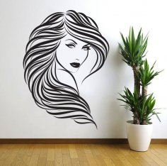 Laser Cut Lady Girl Woman Beauty Saloon Wall Art DXF File