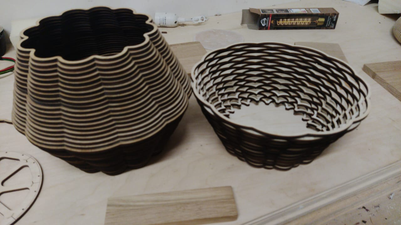 Laser Cut Wooden Decorative Basket Free Vector
