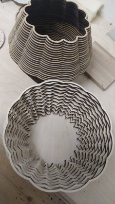 Laser Cut Wooden Decorative Basket Free Vector