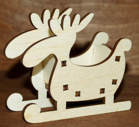 Laser Cut Moose Sleigh Christmas Ornament Free Vector