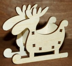 Laser Cut Moose Sleigh Christmas Ornament Free Vector