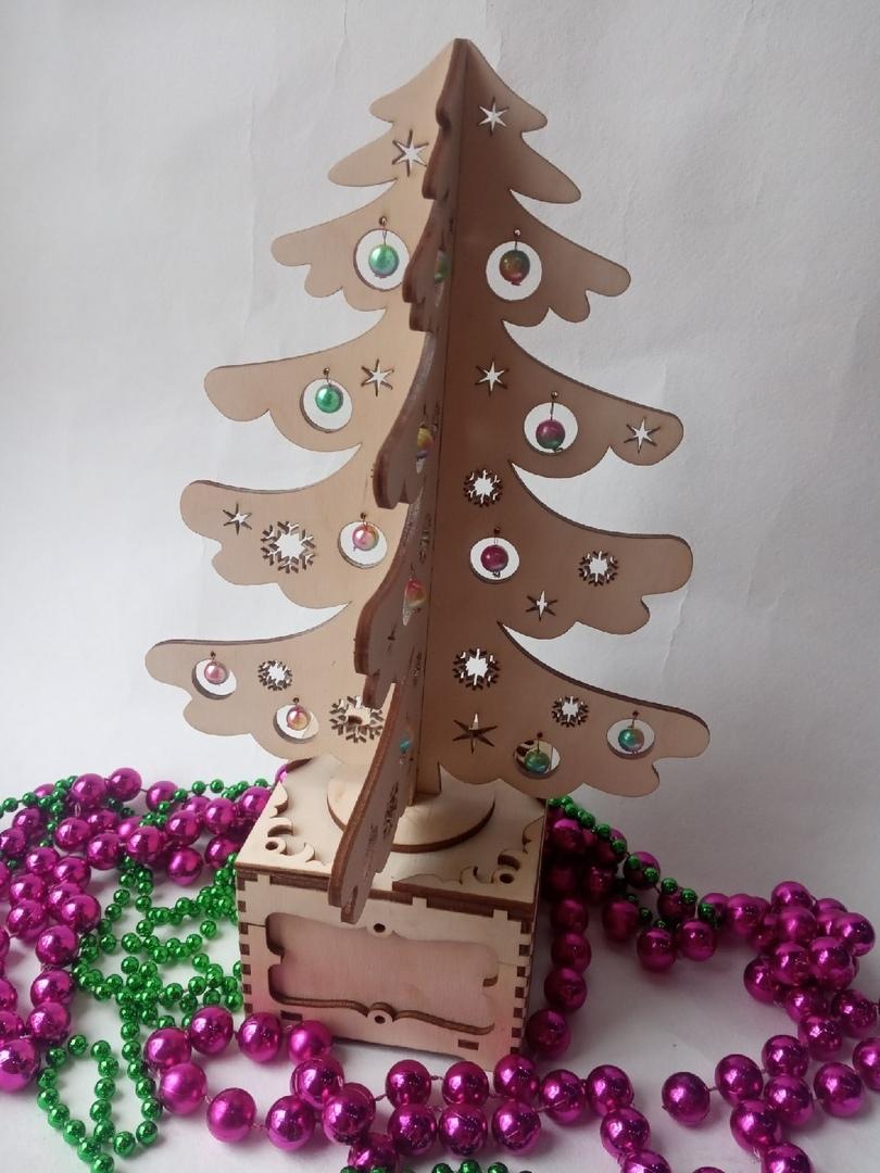 Laser Cut Christmas Tree Surprise Free Vector
