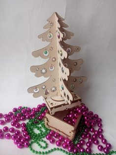 Laser Cut Christmas Tree Surprise Free Vector