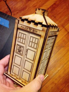 Laser Cut Wooden Police Box Tardis Toy Free Vector