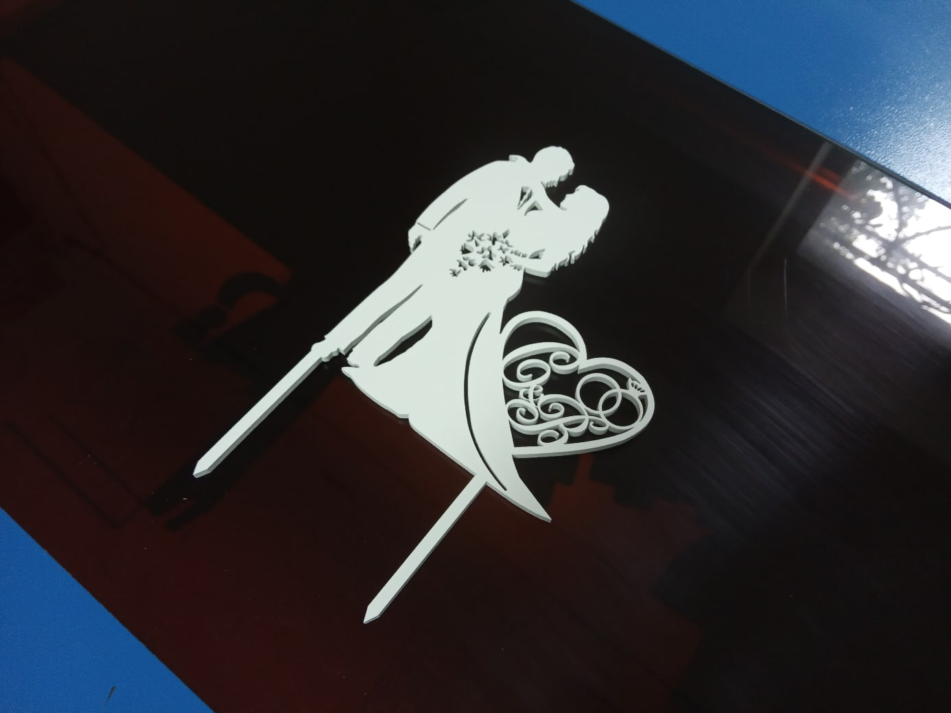 Laser Cut Personalized Custom Wedding Cake Topper Free Vector