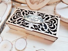 Laser Cut Decorative Wooden Gift Box Free Vector