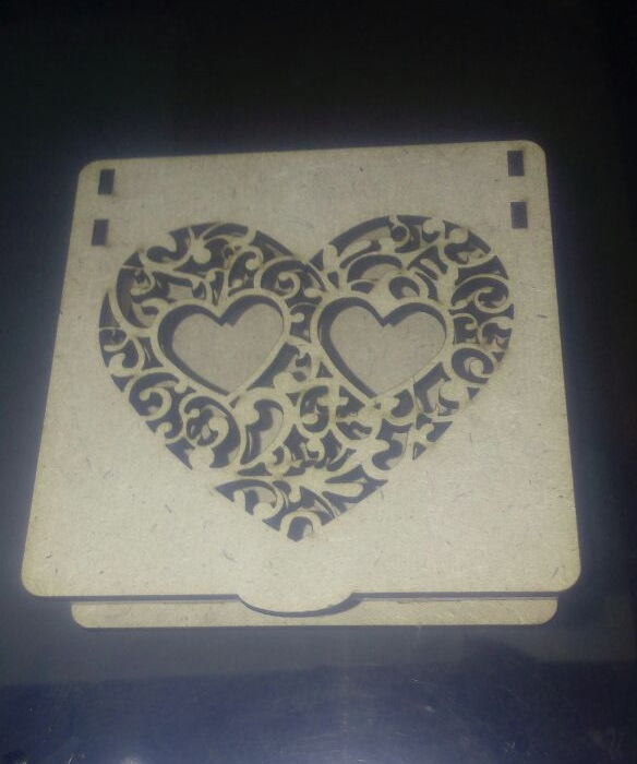 Laser Cut Wooden Gift Box 80x80mm DXF File