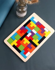 Laser Cut Wooden Tetris Puzzle Free Vector