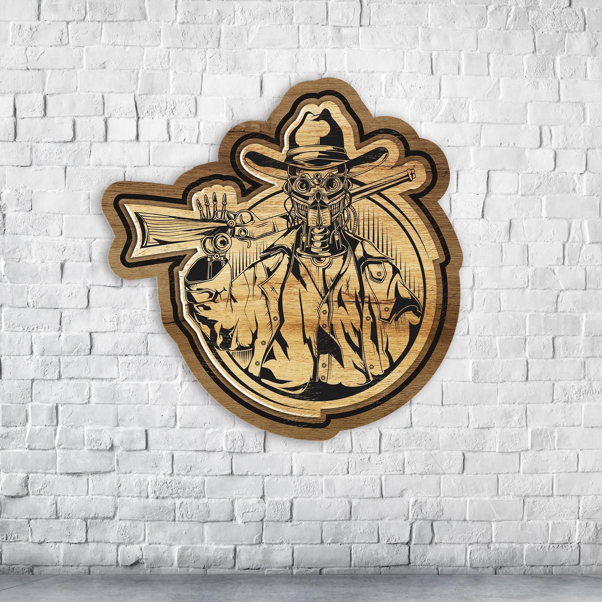 Laser Cut Engraved Robot Cowboy Badge Coaster Wall Decor Free Vector