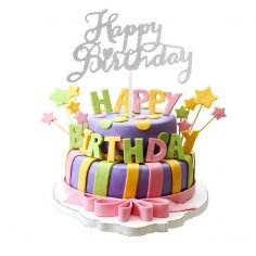 Laser Cut Happy Birthday Cake Topper Party Decoration Free Vector
