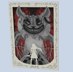 """Laser Cut Layered Art Alice: Otherlands """"Red Cheshire"""" Free Vector"""