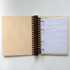 Laser Cut Wooden Notebook With Ring Mechanism Ring Binder A5 Free Vector