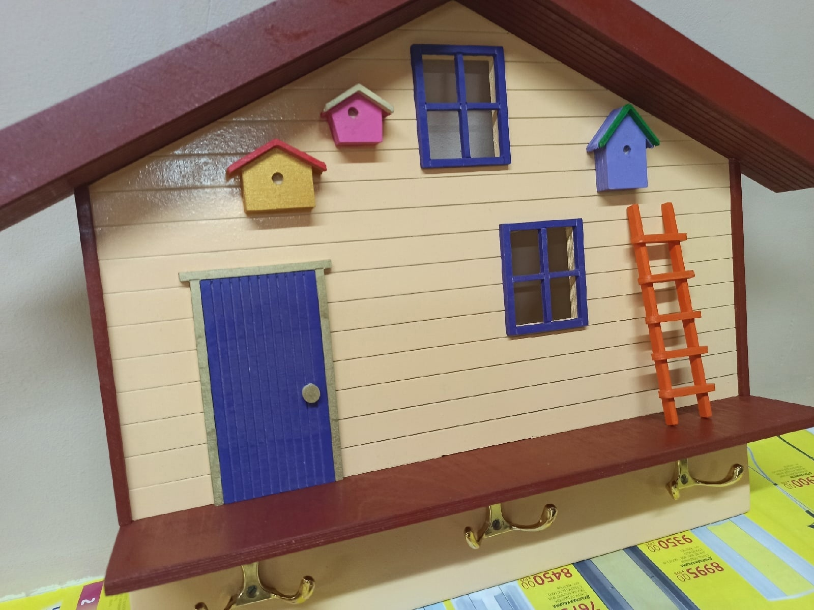 Laser Cut Home Shaped Wall Shelf With Hooks DXF File