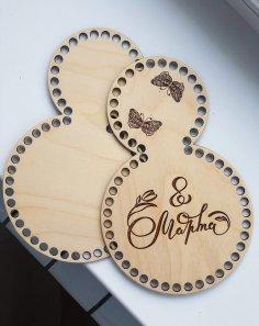 Laser Cut Wooden Basket Bottoms For Crochet Women Day 8 March Gift Free Vector