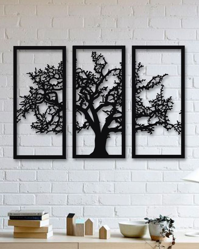 Laser Cut Tree Wall Decor 3 Panels SVG File