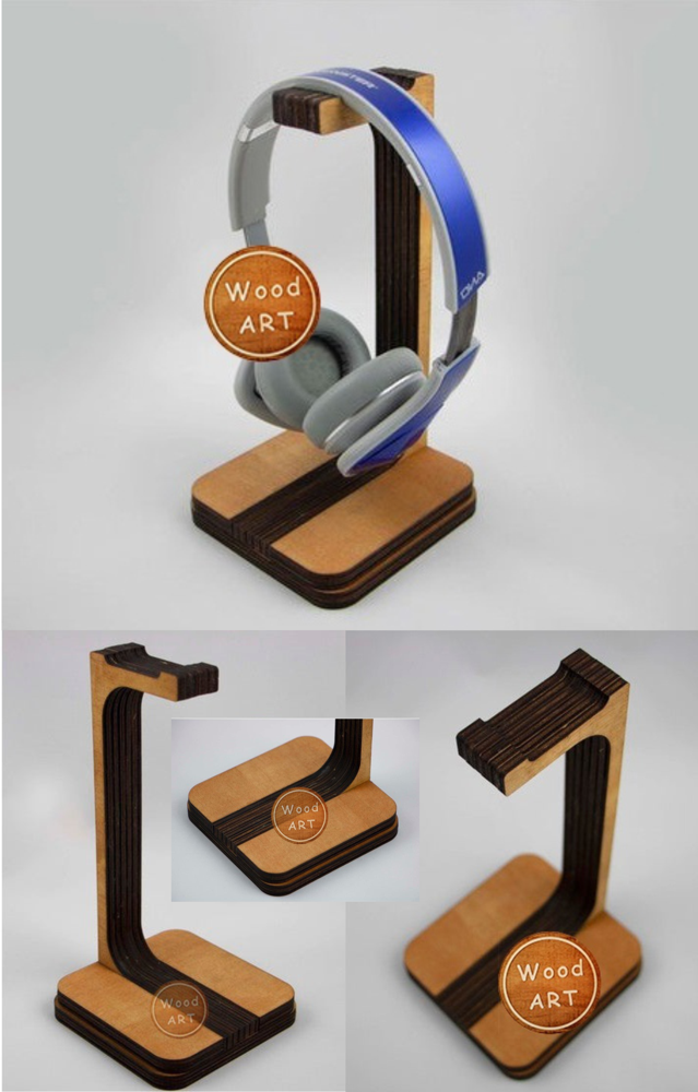 Laser Cut Headphone Stand Free Vector