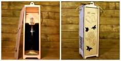 Laser Cut Wooden Wine Box Free Vector