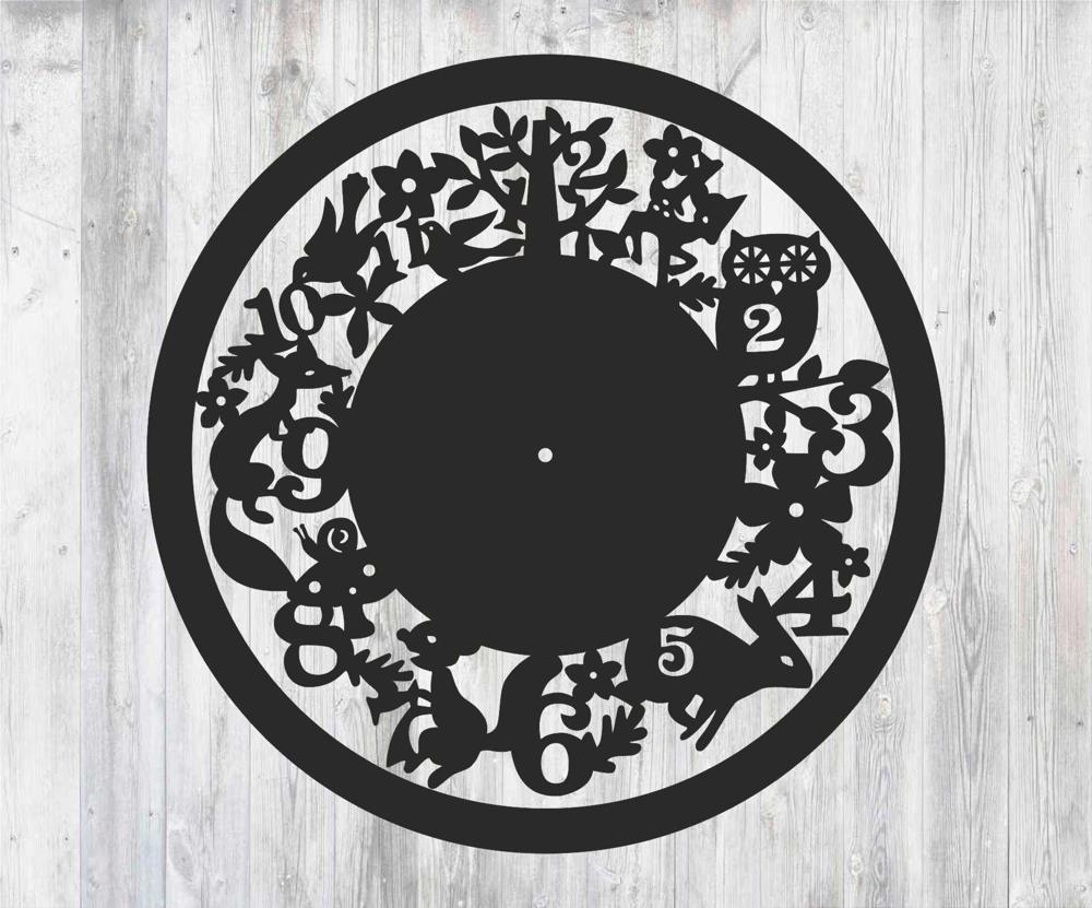 Laser Cut Wall Clock with Animals Free Vector