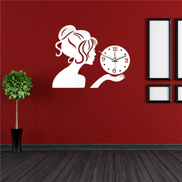 Laser Cut Wall Clock with Girl Free Vector