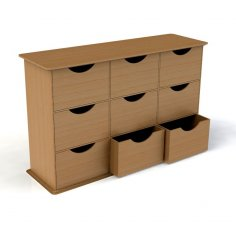 Laser Cut Dresser With Drawers 3mm DXF File