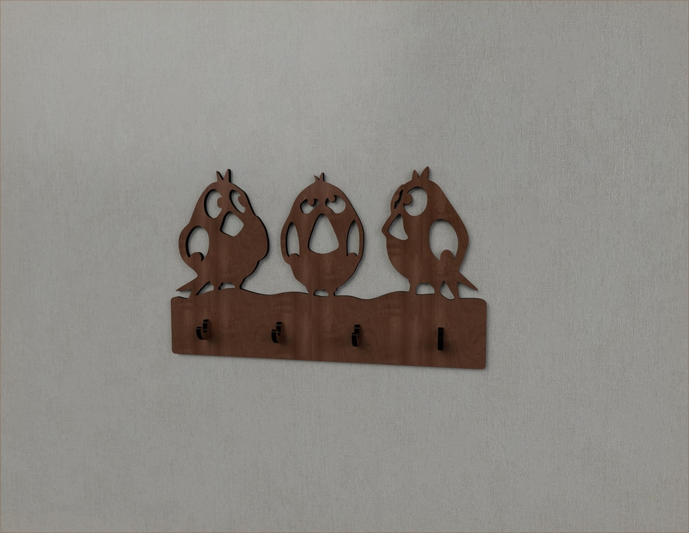 Laser Cut Sparrow Bird Wall Hanger Key Coat Hook Clothes Rack Free Vector