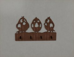 Laser Cut Sparrow Bird Wall Hanger Key Coat Hook Clothes Rack Free Vector