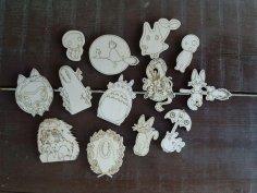 Laser Cut Engraved Miyazaki Animation Icons Magnets Free Vector