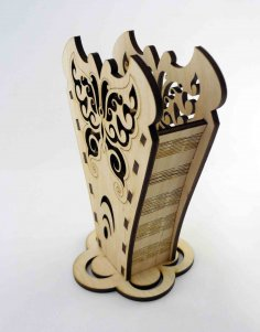Laser Cut Wooden Pencil Holder Free Vector