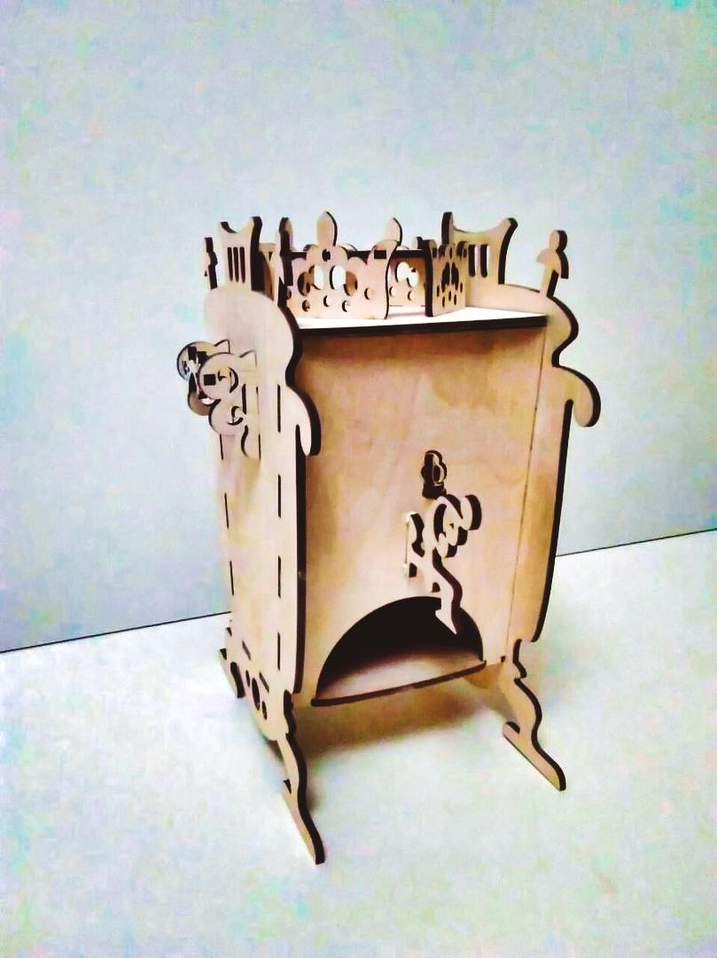 Laser Cut Samovar Shaped Tea House Tea Bag Dispenser Box DXF File