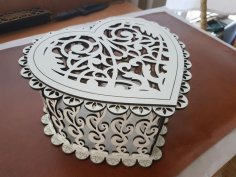 Laser Cut Decorative Heart Shaped Gift Box Plywood Free Vector