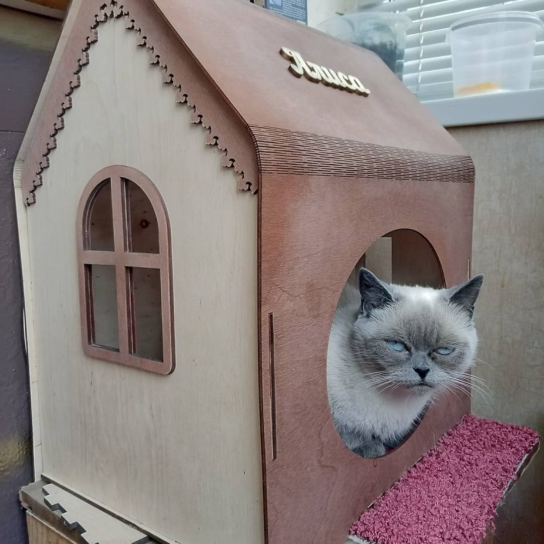 Laser Cut Wooden Cat House Cat Furniture Cat Lover Gift Free Vector