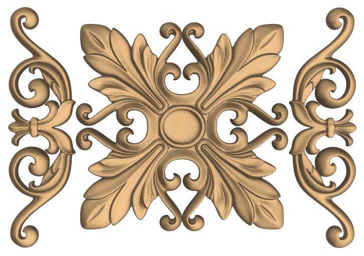 Decorative  Flower Carved Design for CNC Router Stl File