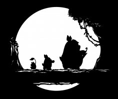 Totoro Vector for Laser Cutting Free Vector