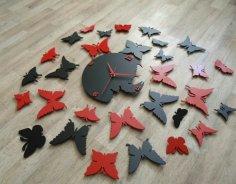 Laser Cut DIY Modern Butterfly Wall Clock Free Vector