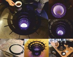 Round Coffee Table Laser Cut Free Vector