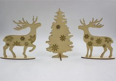 Laser Cut Deer Ornament Christmas Tree Decor DXF File