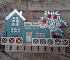 Laser Cut Wall Mounted Decorative Key Holder Free Vector