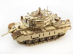 Laser Cut Wooden Tank 3D Puzzle Free Vector