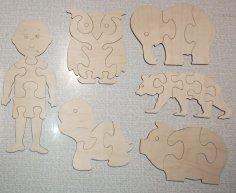 Laser Cut Kids Jigsaw Puzzles Wooden Pretend Play Set DWG File