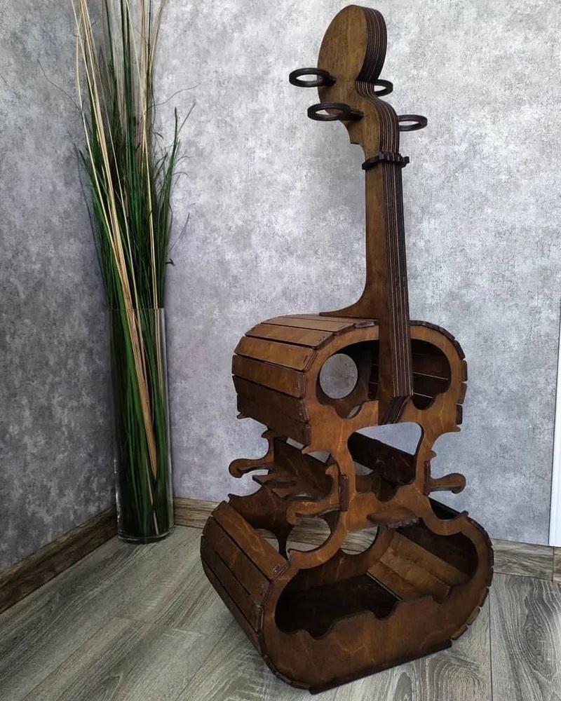 Laser Cut Cello Violin Minibar Free Vector