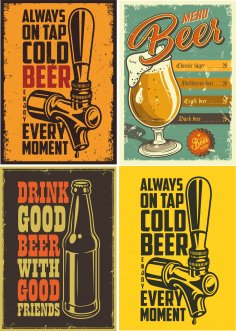 Retro Beer Posters 3 Free Vector