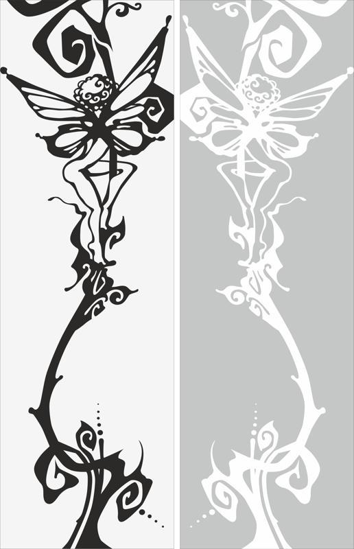 Abstract Butterfly Art Sandblast Pattern Free Vector