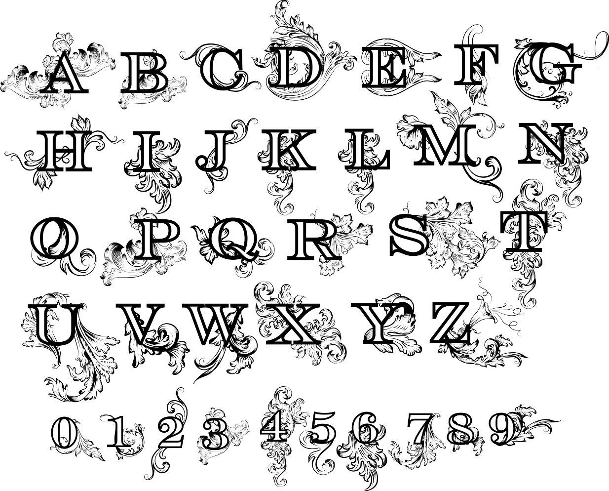 Flower Floral Alphabet Letters Design DWG File