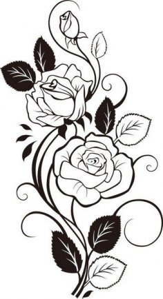 Rose Vine Drawing Vector Art dxf File