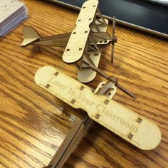 Bi Plane Laser Cut Wood Model (KIT) Free Vector