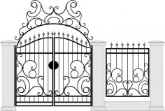 Black Forged Gate Wickets On White Vector Free Vector